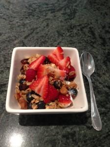 homemade granola with berries